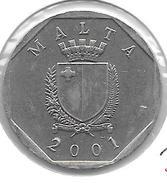 *malta 50 Cents 2001  Km 98 Xf+ - Malte