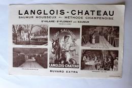 Buvard Langlois Château Saumur Mousseux St Hilaire St Florent Cavalière Vin Gay Saumur - Buvards, Protège-cahiers Illustrés