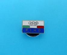 ITALY NOC Ice Hockey & Skating Federation Vintage Enamel Buttonhole Pin Badge Olympic Games Olympia Olympiade Olimpiadi - Olympics