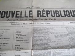 """"""" La Nouvelle République""""/29 Mars 1871/ 9 Germinal An 79/ Journal De La Révolution De Paris/Elections/ 1871   VJ119 - Journaux - Quotidiens"""