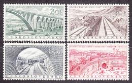 CZECHOSLOVAKIA 1955, Complete Set, MNH. Michel 945-948. RAILWAY BRIDGES, TUNEL. Good Condition, See The Scans. - Treinen