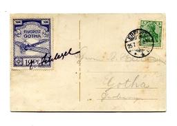 !!! CARTE DU 1ER VOL FLUGPOST GOTHA DU 25/7/1912 SIGNEE PAR LE PILOTE SCHLEGEL - Airmail