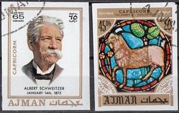 778 Ajman 1971 A. Schweitzer Premio Nobel PACE - Zodiaco Capricorno Capricorn - Stainled Glass Window Vetrata Notre Dame - Vetri & Vetrate