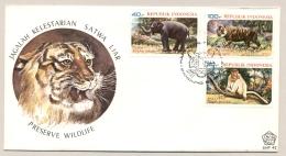 Indonesia - 1977 - Wild Life - FDC - No Address - Tiger, Elephant, Monkey - Indonesië