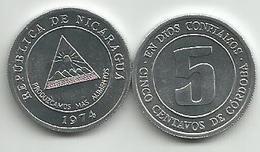 Nicaragua 5 Centavos 1974. UNC KM#28 FAO - Nicaragua