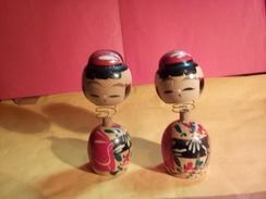 ORIGINAL A VOIR ! ANCIENNES POUPEES JOUET ASIATIQUES EN BOIS MONTEES SUR RESSORT - Dolls