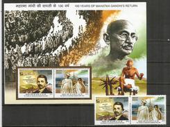 Centenaire Du Retour Du Mahatma Gandhi, Depuis Afrique Du Sud. Bloc Feuillet + Série Neufs ** De L'INDE, Année 2015 - Mahatma Gandhi
