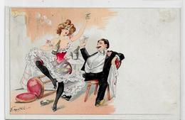 CPA Mouton Georges Femme Girl Woman éros érotisme Risque Non Circulé Dos Non Partagé Champagne - Illustrateurs & Photographes