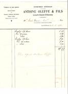 Facture Antoine Oleffe & Fils à Court-Saint- Etienne En 1920 Entreprises Générales PR4444 - 1900 – 1949