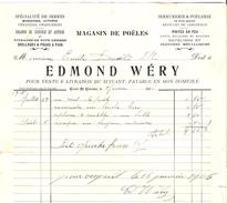 Facture Edmond Wéry à Court-Saint- Etienne En 1906 Magasin De Poëles PR4445 - Belgique
