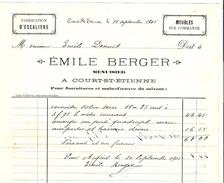Facture Emile Berger à Court-Saint- Etienne Menuisier En 19052 PR4446 - Belgique