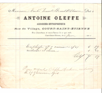 Facture Antoine Oleffe & Fils à Court-Saint- Etienne Ardoisier Entrepreneur En 1901 PR4447 - Belgique