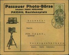 """1921, Dekorativer Werbeumschlag """"""""Passauer Photo-Börse"""""""" Mit 2-mal 60 Pfg. Germania - Fotografie"""