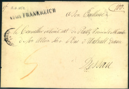 """1853, Taxed Letter Sent From STRASSBOURG With """""""" A.U.UEB. FRANKREICH"""""""" Transit Mark To Dessau. - France"""