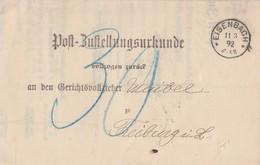 DR Post-Zustellurkunde Eisenbach 11.9.92 Ankunftst. KOS Freiburg (Breisgau) 11.3.92 - Briefe U. Dokumente