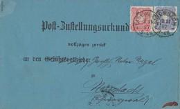 DR Post-Zustellurkunde Mif Minr.41,42 Eisenbach 2.11.87 Ankuntsst.KOS Neustadt (Schwarzwald) 2.11.87 - Deutschland