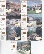 Bulgaria, BulFon, BUL-C-038 - 042, Set Of 7 Monasteries, 2 Scans.    NB : Not Complete 043 Is Missing