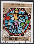 777 Ajman 1971 Segni Zodiaco Sagittario Sagittarius - Stainled Glass Window Vetrata Notre Dame Imperf. Zodiac - Vetri & Vetrate