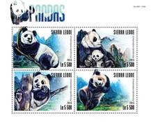 SIERRA LEONE 2015 SHEET PANDA BEARS PANDAS OURS URSOS BAREN OSOS ORSI WILDLIFE Srl15312a - Sierra Leone (1961-...)