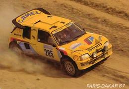 Rallye Paris-Dakar 1987  -  Peugeot 205 Turbo 16  -  Pilotes: Ari Vatanen/Bernard Giroux -    CPM - Rallyes