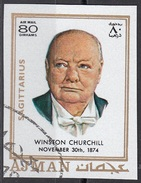 784 Ajman 1971  Winston Leonard Spencer Churchill (1874-1965) - Zodiaco Sagittarius Sagittario -  Imperf. Zodiac - Astrologia