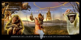 GUINEA 2012 SHEET ENDANGERED WEST AFRICAN ANIMALS BATS MONKEYS CHAUVES SOURIS SINGES PRIMATES APES WILDLIFE Gu12205a - Guinea (1958-...)