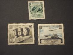 ITALIA - 1952 FORZE AEMATE 3 VALORI - NUOVO(++) - 1946-60: Mint/hinged