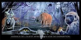 GUINEA 2012 SHEET ENDANGERED WEST AFRICAN ANIMALS ELEPHANTS MONKEYS GORILLES APES CROCODILES ANTELOPES WILDLIFE Gu12207a - Guinea (1958-...)