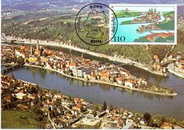 "BRD Maximumkarte ""Blick Auf Die Dreiflüssestadt Passaul"" Mi 2103 ESSt 16.3.2000 BONN - BRD"