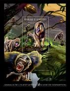 GUINEA 2012 SHEET ENDANGERED WEST AFRICAN ANIMALS MONKEYS GORILLAS PRIMATES SINGES APES AFFEN MACACOS WILDLIFE Gu12216b - Guinea (1958-...)