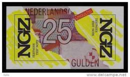 """Test Note """"NGZ"""" Testnote, 25 GULDEN, Niederlande, Beids. Druck, RRR, UNC - Pays-Bas"""