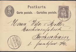 SCHWEIZ P 12 Mit ZFr. 37, Auf Auslandspostkarte Mit Stempel: Schaffhausen 17.IX.1881 - Interi Postali