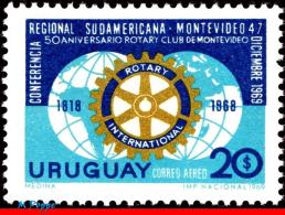 Ref. UR-C354 URUGUAY 1969 ROTARY, ROTARY CONFERENCE AND THE, 50TH ANNIV., MI# 1155, MNH 1V Sc# C354 - Rotary, Lions Club