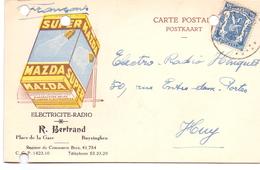 Briefkaart - Carte Postal - Pub/reclame Mazda Super Bertrand Buizingen - Electricité Radio Huy - Cartes Postales [1934-51]