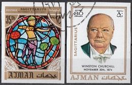 777 Ajman 1971 Sir Winston Churchill - Zodiaco Sagittario Sagittarius - Stainled Glass Window Vetrata Notre Dame - Vetri & Vetrate
