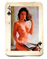 Carte 5,8 Cm X 4cm  : 4 Trèfle - Femme Nue - Cartes à Jouer