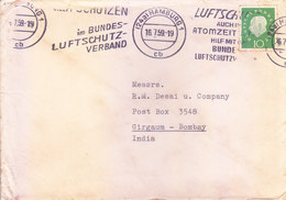 GERMANY 1959 COMMERCIAL COVER POSTED FROM HAMBURG FOR INDIAN WITH TWO DIFFERENT SLOGAN CANCELLATION - [7] Federal Republic