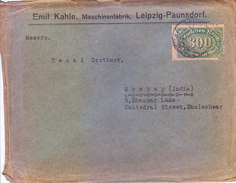 GERMANY 1923 COMMERCIAL COVER - POSTED FROM PAUNSDORF FOR INDIA - Germany