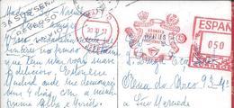 Mechanical Franchise 'Grandes Hotels Finisterra' Obliterated 1957.Tourism.Vacation.The Toja.Finisterra.Rare.Urlaub.2scn - Settore Alberghiero & Ristorazione