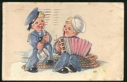 BAMBINI CON FISARMONICA (47) - CHILDREN - KINDER - ENFANTS- ILLUSTRATORE MMM - VIAGGIATA NEL 1943 CON TIMBRI DI CENSURA - Disegni Infantili