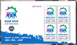 Greenland MNH 2015 Minisheet Of 4 11k + 1k 2016 Arctic Winter Games, Nuuk - Groenland