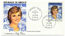 DJIBOUTI => 2 FDC - 21eme Anniversaire Princesse Lady Diana - 29 Avril 1982 - Djibouti (1977-...)