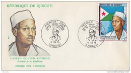 Enveloppe  FDC  1er  Jour   DJIBOUTI    Président   Hassan  GOULED  APTIDON    1978 - Djibouti (1977-...)