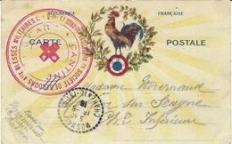 """1916- WWI - CPFM Avec Coq  Encadré  Couleurs + Cachet """" Société De Secours Aux Blessés ... / De Brétigny-s-Orge - Cartes De Franchise Militaire"""
