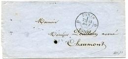 PARIS LSC Du 13/08/1857 Avec Cachet Taxe N°2530 30C  Du Bureau D - Marcophilie (Lettres)
