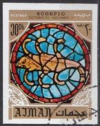 776 Ajman 1971 Segni Zodiaco Scorpione Scorpio - Stainled Glass Window Vetrata Notre Dame Imperf. Zodiac - Vetri & Vetrate