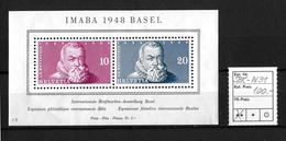 IMABA 1948 BASEL → Postfrischer Block Nr.13   ►SBK-W31 In Gelber Gummierung◄ - Blocks & Kleinbögen