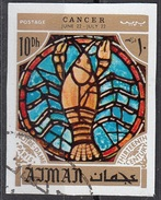 772 Ajman 1971 Segni Zodiaco Cancro Cancer - Stainled Glass Window Vetrata Notre Dame Imperf. Zodiac - Astrologia