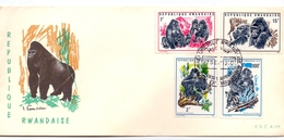 1970 RWANDAISE FDC WITH ANIMAL STAMPS CHIMPANZEE GORILLES FAUNNA