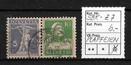 1914-1933 ZUSAMMENHÄNGENDE WERTSTUFEN → SBK-Z7, PLAFFEIEN  ►RRR◄ - Gebraucht